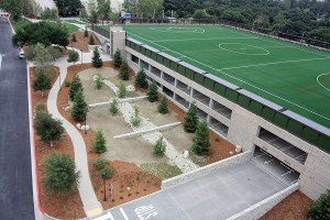 Pomona College Parking Garage with Soccer Field